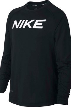 nike functioneel shirt »boys longsleeve fitted top« zwart