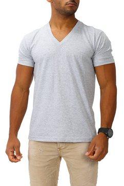 joe franks shirt met v-hals grijs