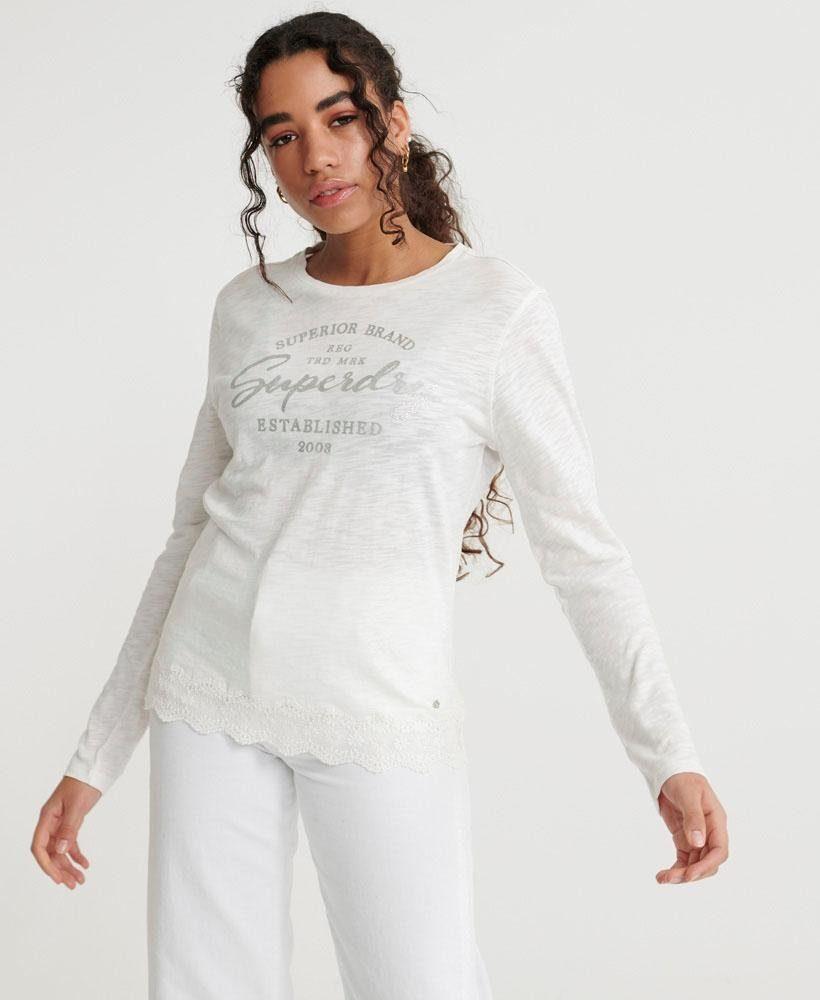 Superdry Shirt Met Lange Mouwen Graphic Lace Mix Ls Top Online Bij - Geweldige Prijs