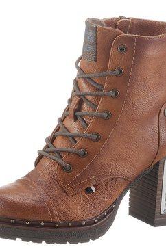 mustang shoes veterlaarsjes met studs op het plateau bruin