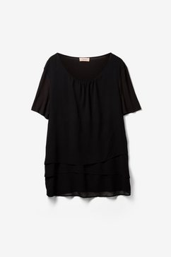 triangle blouse van batist, met een kanten detail zwart