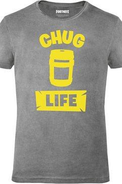 musterbrand t-shirt »chug life« grijs