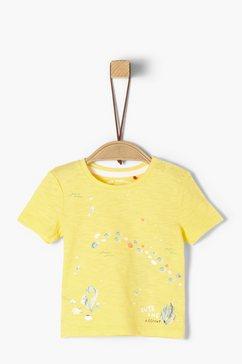 s.oliver junior jersey shirt met rucheachtig detail voor baby geel