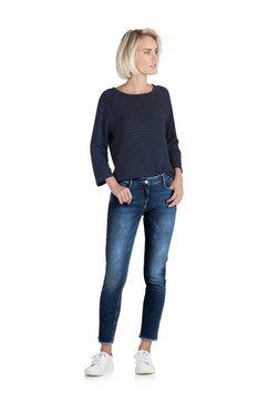 public slim fit jeans »mit offenem saum« blauw