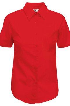 fruit of the loom overhemdblouse »lady-fit poplin bluse, kurzarm« rood