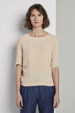 tom tailor overhemdblouse »elegantes t-shirt aus crêpe« beige