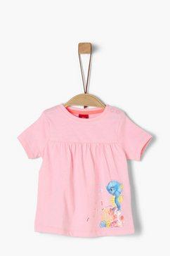s.oliver junior jersey shirt met rucheachtig detail voor baby roze