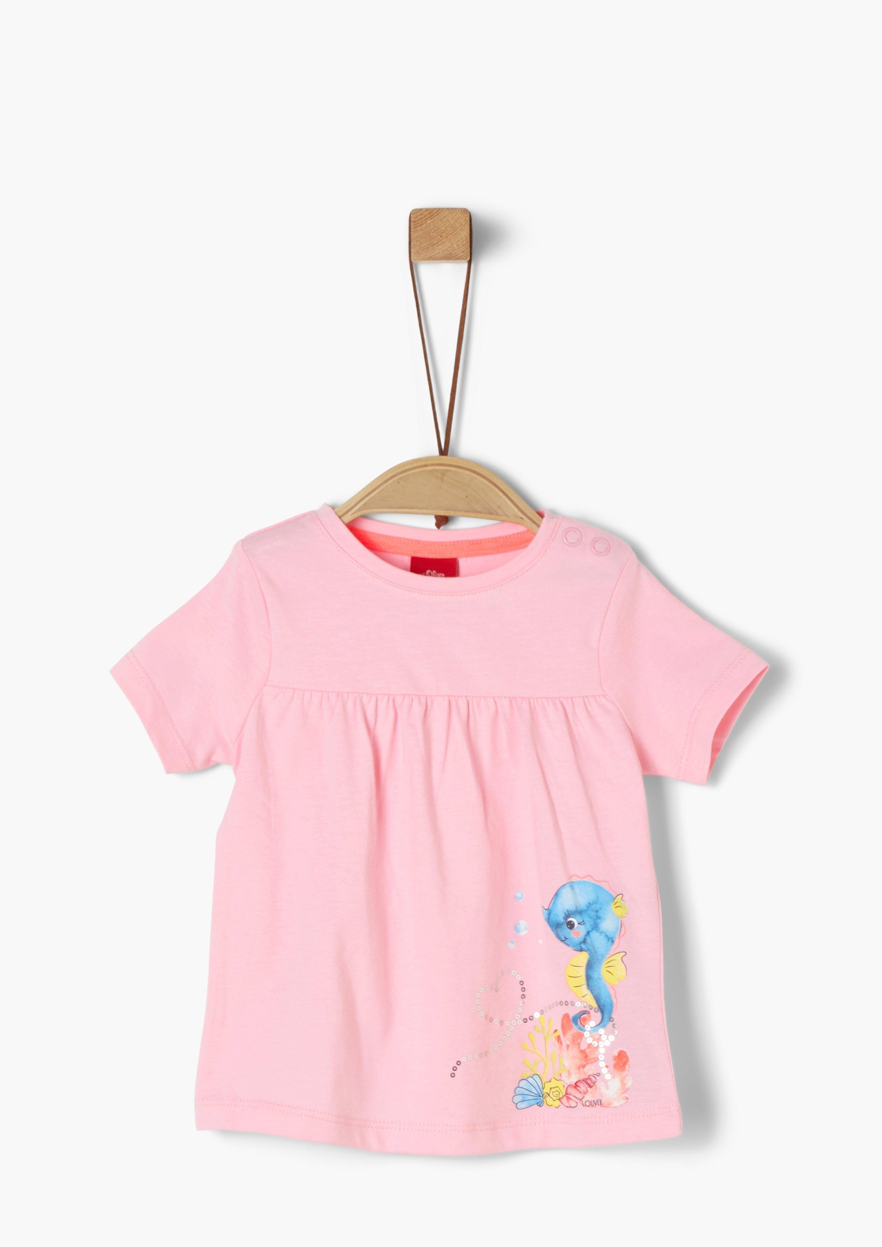 s.Oliver RED LABEL s.Oliver Junior Jersey shirt met rucheachtig detail voor baby online kopen op otto.nl