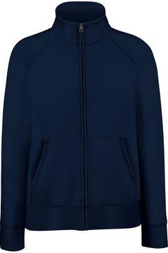 fruit of the loom fleecejack »damen lady-fit fleece-sweatshirt-jacke« blauw