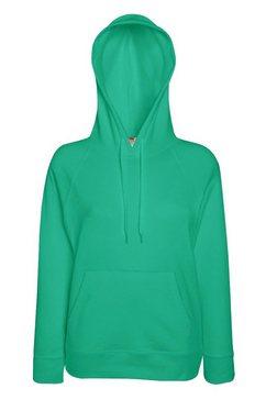 fruit of the loom capuchontrui »damen - kapuzen-sweatshirt - hoodie, tailliert« groen