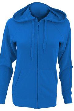 fruit of the loom nickyjack met capuchon »damen kapuzenjacke - kapuzen-sweatshirt - hoodie mit reissverschluss, tailliert« blauw