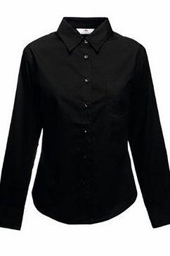 fruit of the loom overhemdblouse »lady-fit poplin bluse, langarm« zwart