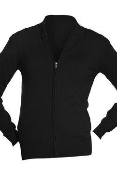 sols vest »damen gordon mit reissverschluss, v-ausschnitt, langarm« zwart