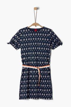 s.oliver junior cold-shoulder jurk met motief voor meisjes blauw