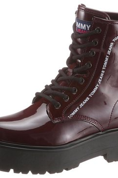 tommy jeans plateaulaarsjes »patent lace up boot« rood