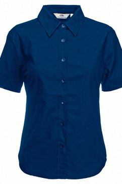 fruit of the loom overhemdblouse »lady-fit oxford bluse, kurzarm« blauw