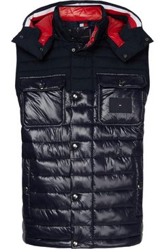tommy hilfiger bodywarmer »stretch quilted hooded vest« blauw