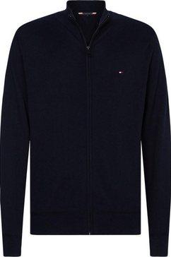 tommy hilfiger vest »organic cotton silk zip through« blauw