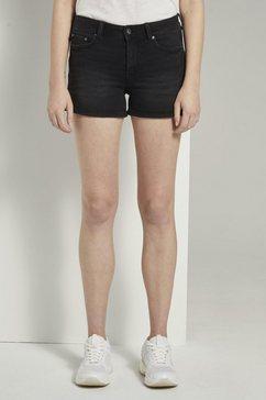 tom tailor denim jeansshort »high-waist jeans-shorts mit push-up-effekt« grijs