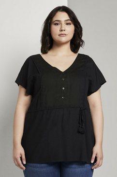 tom tailor my true me blouse met korte mouwen »fliessende bluse mit quasten-details« zwart