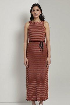 tom tailor maxi-jurk »gemustertes neckholder-maxikleid mit bindeguertel« rood