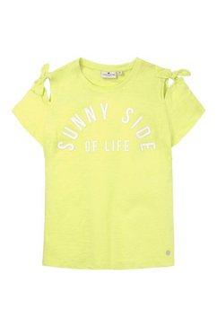 tom tailor t-shirt »t-shirt mit schleifen-detail und schrift-print« groen