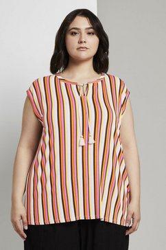 tom tailor my true me shirt met korte mouwen »aermellose bluse mit schleifen-detail« rood