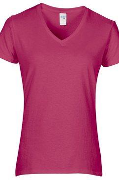 gildan shirt met v-hals »damen premium t-shirt mit v-ausschnitt« roze