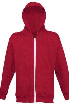 awdis nickyjack met capuchon »kinder unisex kapuzenjacke - hoodie - kapuzensweatshirt« rood