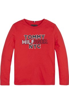 tommy hilfiger shirt met lange mouwen »th nyc tee tee l-s« rood