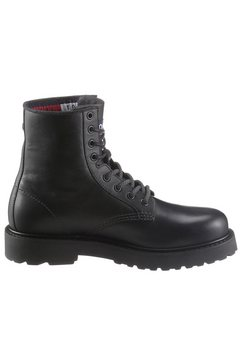 tommy jeans veterlaarzen »mens leather lace up boot« zwart