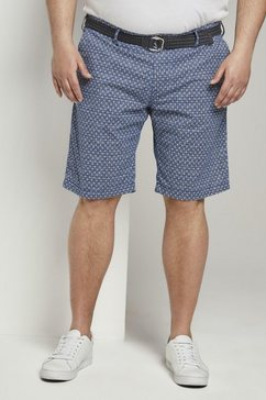 tom tailor men plus bermuda »gemusterte josh regular slim bermudashorts mit guertel« blauw