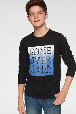 arizona shirt met lange mouwen »game over« zwart