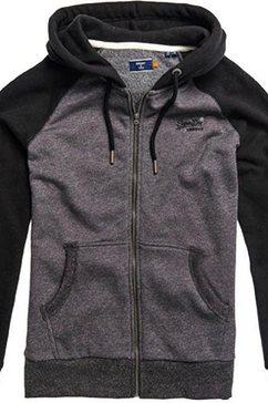 superdry capuchonsweatvest »ol classic raglan zip hood« grijs