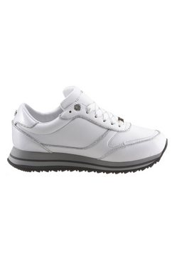 tommy hilfiger sneakers met sleehak »th glitter mix runner sneaker« wit