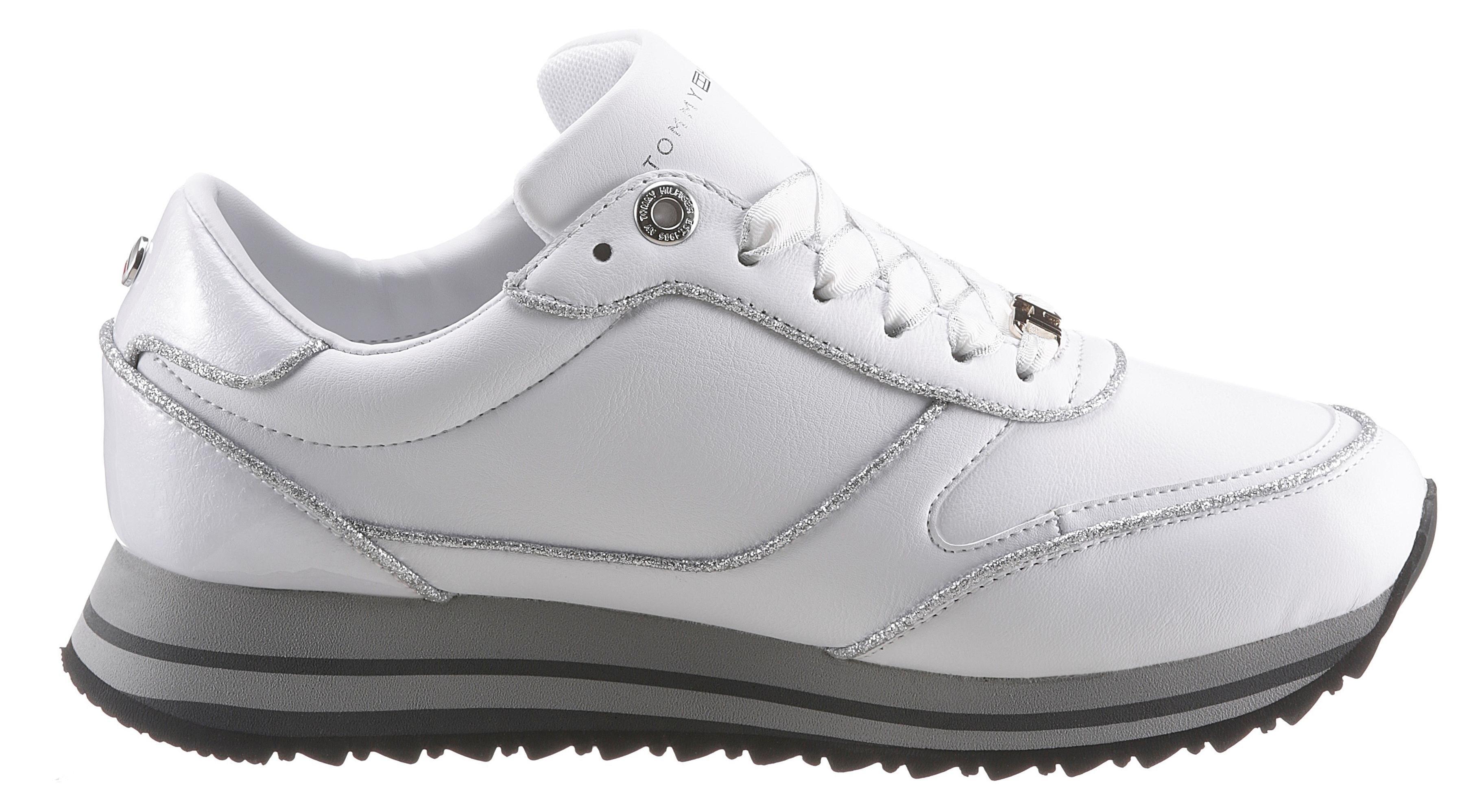 TOMMY HILFIGER sneakers met sleehak »TH GLITTER MIX RUNNER SNEAKER« goedkoop op otto.nl kopen