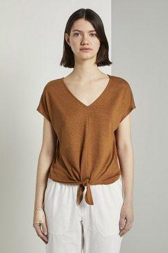tom tailor denim t-shirt »t-shirt mit knoten-detail« bruin