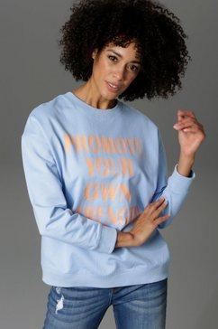 aniston casual sweatshirt met statement-opschrift blauw