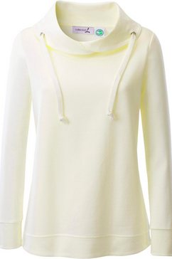 casual looks sweatshirt met asymmetrische kraag beige