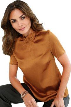 lady satijnen blouse bruin