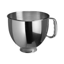 edelstalen mengkom van 4,83 liter voor kitchenaid zilver