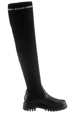 tommy jeans overknee-laarzen »tommy jeans over the knee boot« zwart