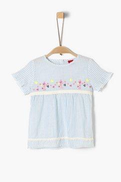 s.oliver junior cold-shoulder blouse van crêpe voor meisjes blauw