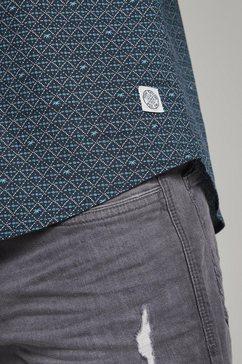 tom tailor overhemd met korte mouwen »gemustertes hemd« blauw