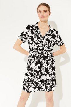 comma crêpe jurk met een golvend randje langs de halsopening zwart