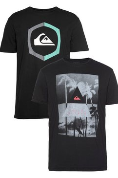 quiksilver t-shirt »lonely thing pack flaxton ym« (packung, 2er-pack) zwart