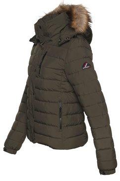 superdry gewatteerde jas »classic faux fur fuji jacket« groen