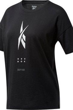 reebok t-shirt »edgeworks graphic tee« zwart