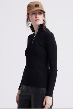 superdry schipperstrui »edit ophelia high neck knit« zwart