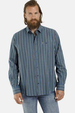 jan vanderstorm geruit overhemd latham katoenen overhemd, comfort fit blauw